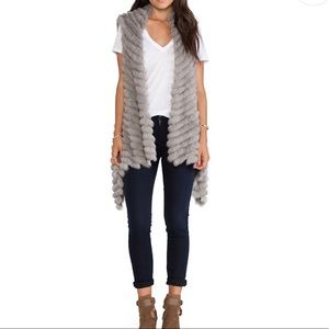Alicia Asymmetrical Rabbit Fur Vest in Cement